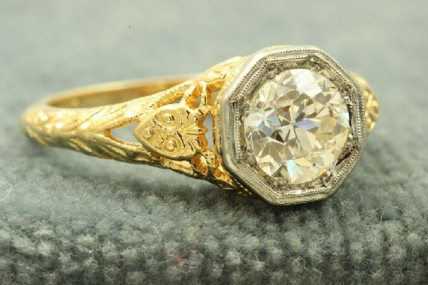old euro cut diamond ring